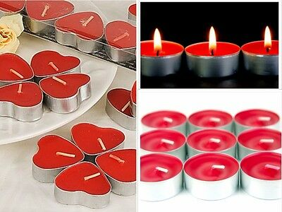 Candeline Tealight Lumini 50Pz Rosso Cuore Candela Tea Lights Brucia Essenza