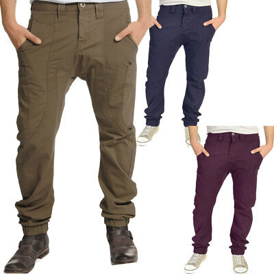 Soulstar Drop Crotch Combat Chino Trousers  Mens Size