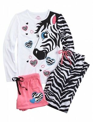 JUSTICE Girls Zebra Pajamas Pajama Set, NEW, 8 10 12 14 16 18 20
