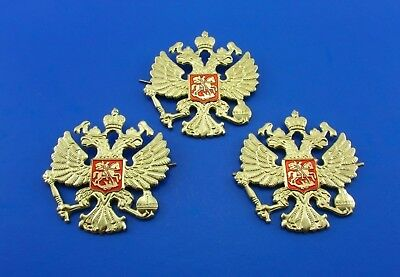 Russian Imperial Double-Headed Eagle Emblem Metal Badges on Hat 3 Pieces