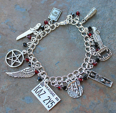 Supernatural Charm Bracelet with red & black crystals- Demon Hunters- Fandom