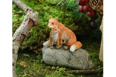 Miniature Dollhouse FAIRY GARDEN - Mama Red Fox With Baby - Accessories