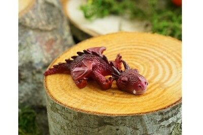 Miniature Dollhouse FAIRY GARDEN - Sleeping Mini Red Dragon - Accessories
