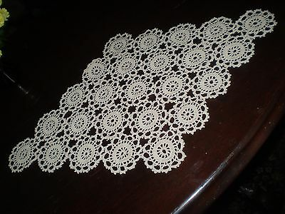 Beautiful Vintage Hand Knitted Cotton Crochet Tablecloth