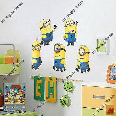 5 LARGE MINIONS Despicable ME 2 Minion wall stickers Removable Kids Nursery