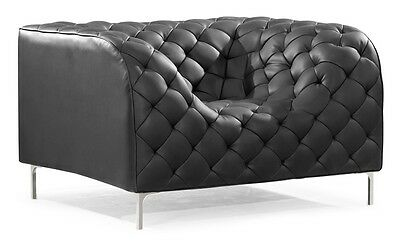 Modern Design Black Tufted Leatherette Accent Arm Chair Lounge Chair