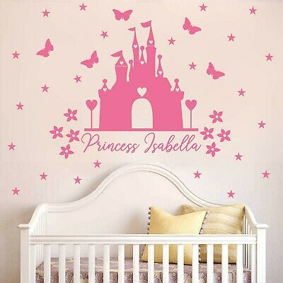 Princess castle WALL sticker with personalised name DECAL KIDS DISNEY | NA28