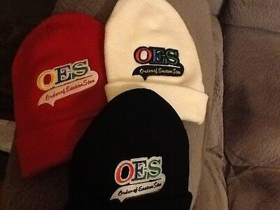 O.E.S Winter Beanie, Order Of Eastern Star. Red, White, or  Black