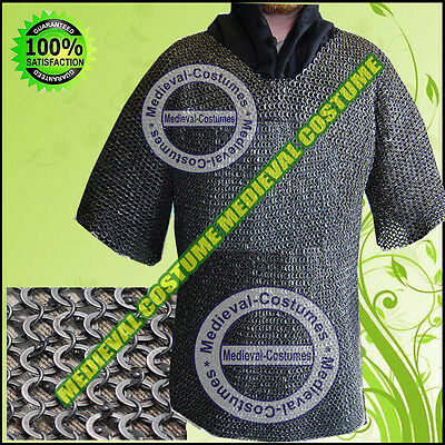 MS Chain Mail Round Riveted Ring with Flat Washer Chainmail Haubrgeon Costume RA