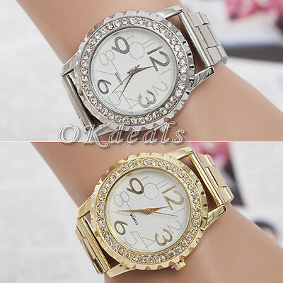 Hot Women Men Crystal Rhinestone Alloy Stainless Steel Analog Quartz Wrist Watch