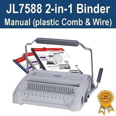 Brand New Plastic Comb & Wire 2-in-1 Binder / Binding Machine (JL7588)
