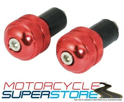 """MOTORCYCLE MOTORBIKE HANDLEBAR ROUND BAR END WEIGHTS ANODISED RED 22mm 7/8"""""""