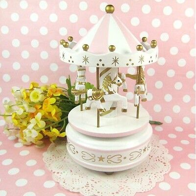 Pink Wooden Merry-Go-Round Carousel Classic Music Box Kids Christmas Gift Toy