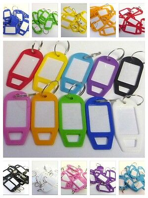 10 Colour Choice Assorted Key Tags Rings Plastic Name Label (from 5,10,20,30,50)