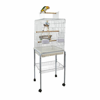 Rainforest Santa Monica Open Top Cage In White with White Trolley Stand
