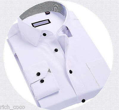 Mens Formal White Black Buttoned Shirt Slim Fit Cotton Collared Wedding Casual