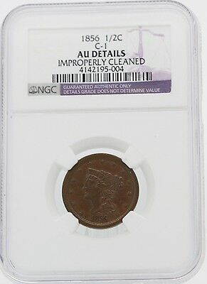 1856 C-1 NGC AU Details Improperly Cleaned Half Cent Coin 1/2c