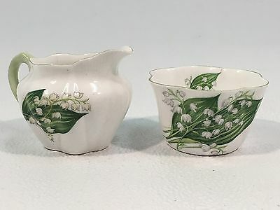 SHELLEY Fine Bone China ENGLAND Dainty LILY OF THE VALLEY Creamer & Sugar