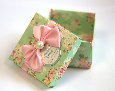 Vintage Pearl Embellished Wedding Party Sweets Candy Gift Favour Box Floral Bow