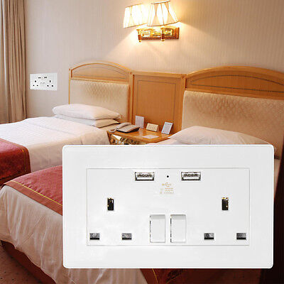 2 Way Mains Power Socket With USB Charging Ports Connection UK Wall Plate Plug