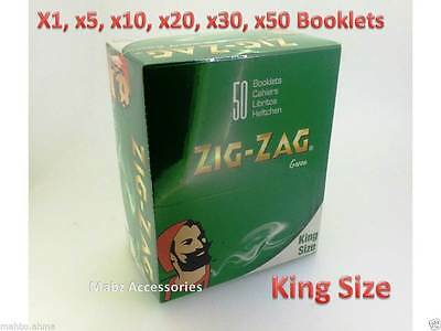 Zig Zag Green Tobacco King Size Rolling Papers - 5 10 20 50( FULL BOX) Booklets