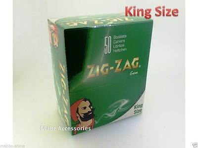 Zig Zag Green Tobacco King Size Slim Rolling Papers * FULL BOX of 50 BOOKLETS **