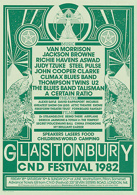 0403  Vintage Music Poster Art - Glastonbury 1982