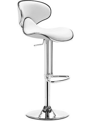 Contemporary Adjustable Height High Back Swivel Bar Stool In White
