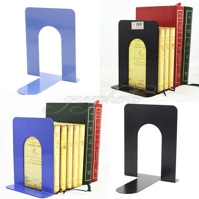 2x L-Shaped Anti-skid Bookend Shelf Book Case End Holdr Home Office Supplies