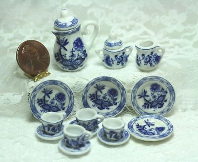 "Dollhouse Miniature Tea Set in ""Blue Onion"" Blue and White Pattern"