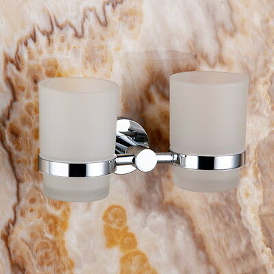 Toothbrush Double Chrome Bathroom Double Tumbler Holder Wall Mounted Brass New