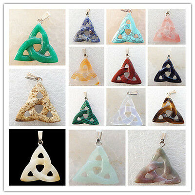 LXJ-32 Carved Mixed Gemstone Triangle Pendant Bead