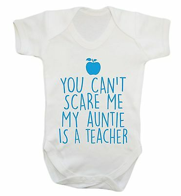 1049 Can't scare me auntie is a teacher baby vest grow cute aunty nephew niece