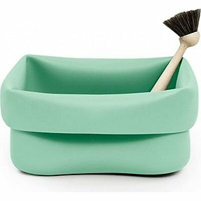 Normann Copenhagen Rubber Washing Up Bowl and Brush - Mint Green