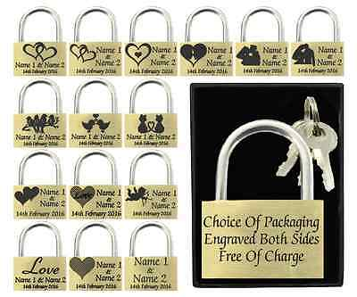 Valentines Gift / Present 40mm Love Lock Personalised Engraved Padlock BOLD TEXT