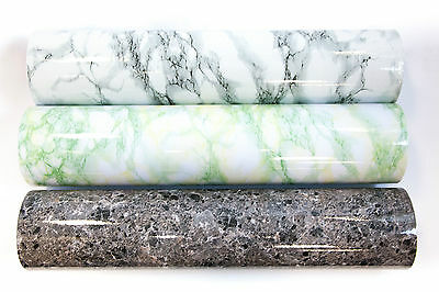 Marble Effect PVC Self Adhesive Vinyl Furniture Sticker Film Craft Decorative UK