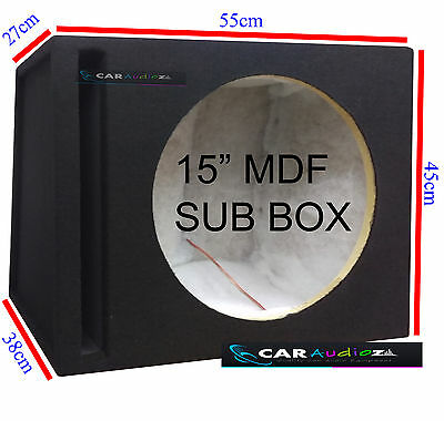 "15"" 38cm Slot Ported Black Car Sub woofer MDF Box Bass Enclosure for all systems"