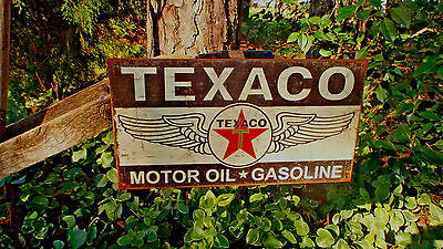 Texaco Motor Oil Gasoline Gas Automotive Tin Advertising Sign Vintage Signs