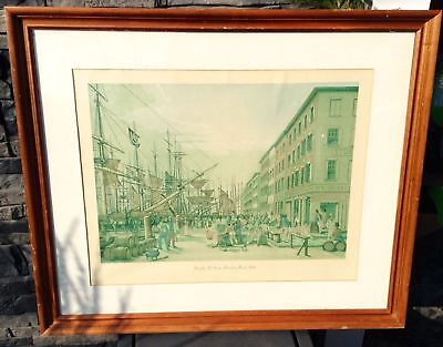 """Beautiful Antique Lithograph """"south St. From Maiden Lane 1828"""" 26""""x31"""""""
