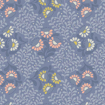 Lewis and Irene - A Little Bird Told Me - Cottage Garden on Welsh Blue - 100% Co