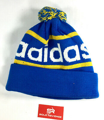 New adidas Originals Beanie Winter Hat Blue Yellow White Mercie Ballie  Q45351 01528e86427
