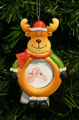 Reindeer In Santa Hat Magnetic Picture Frame Christmas Tree Ornament