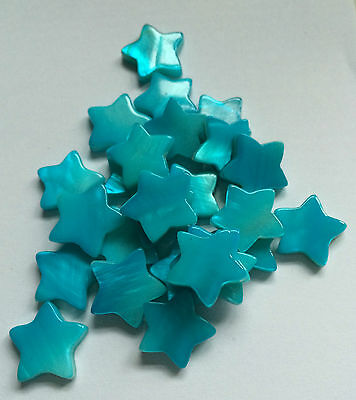10 Blue Coloured Shell Star Shaped Charm / Beads. Size 14mm  Approx.