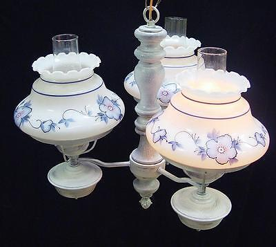 "18""x20"" Vintage 3 light Floral Glass STUDENT SHADE CHANDELIER White Washed Wood"