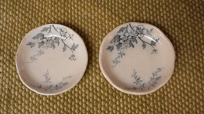 2 Blue Transferware Butter Pats - Blossom Pattern Dish Alfred Meakin England