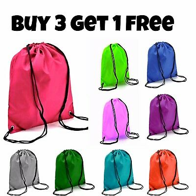 Waterproof Drawstring RuckSack Bag Sack Backpack Swim School Shoes Gym Sport New