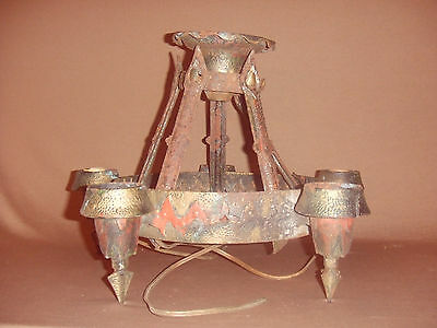 Vintage Cast Iron Chandelier Victorian Medieval Gothic Styling Electric Light