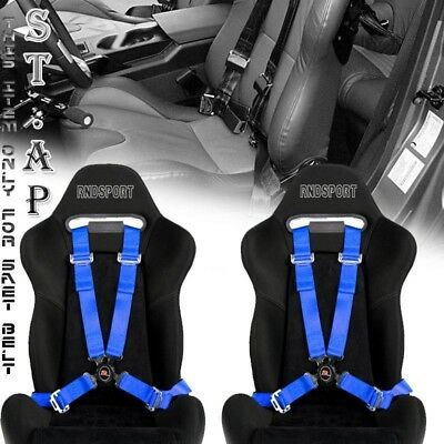 """Us-Car 2X 4 Point Racing Safety Harness Camlock 2 """" Inch Strap Seat Belt Blue"""