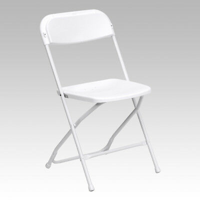(50 Pack) 800 Lbs Capacity Stackable Plastic Folding Chairs White Color
