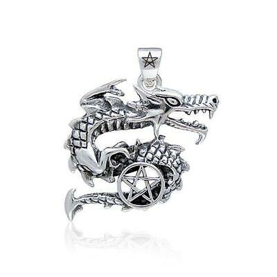 Pagan Wicca Dragon Pentacle .925 Sterling Silver Pendant by Peter Stone